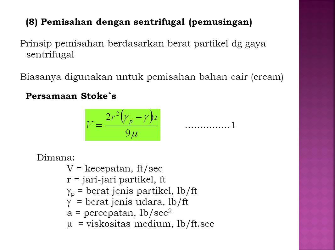 (8) Pemisahan dengan sentrifugal (pemusingan)