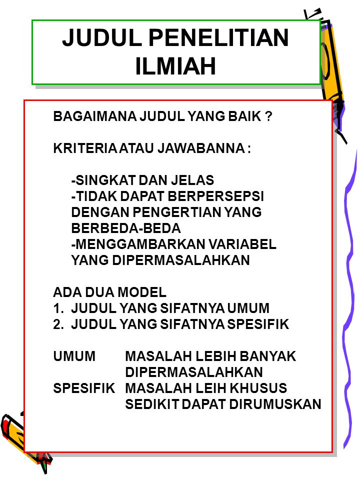 JUDUL PENELITIAN ILMIAH