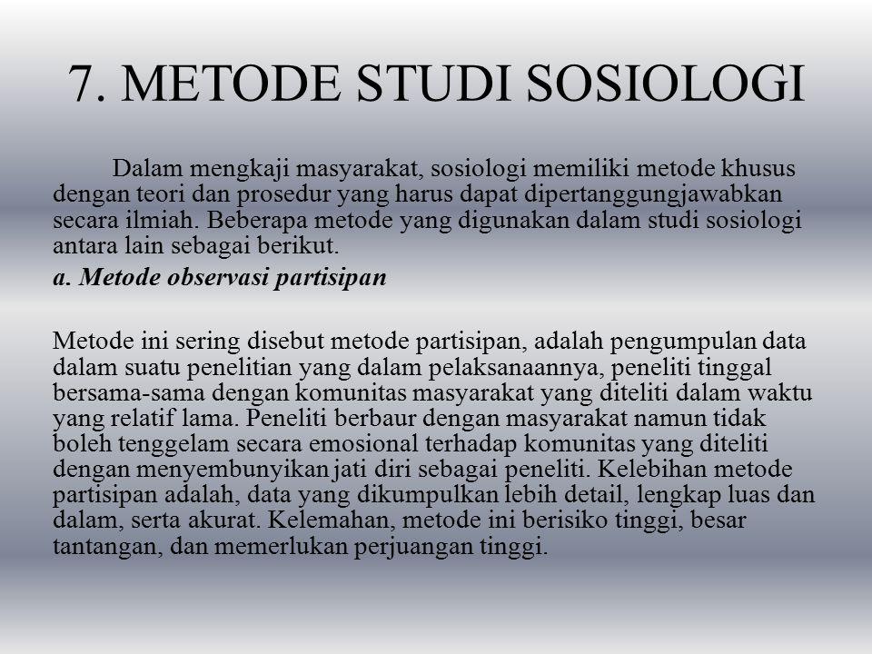 7. METODE STUDI SOSIOLOGI