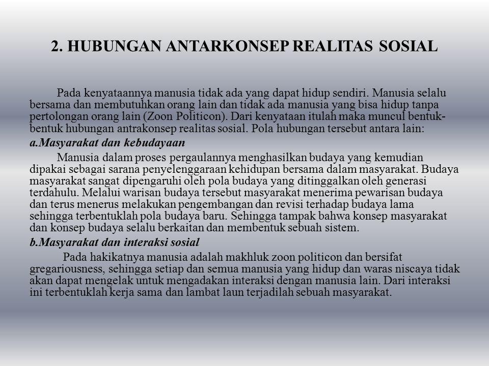 2. HUBUNGAN ANTARKONSEP REALITAS SOSIAL