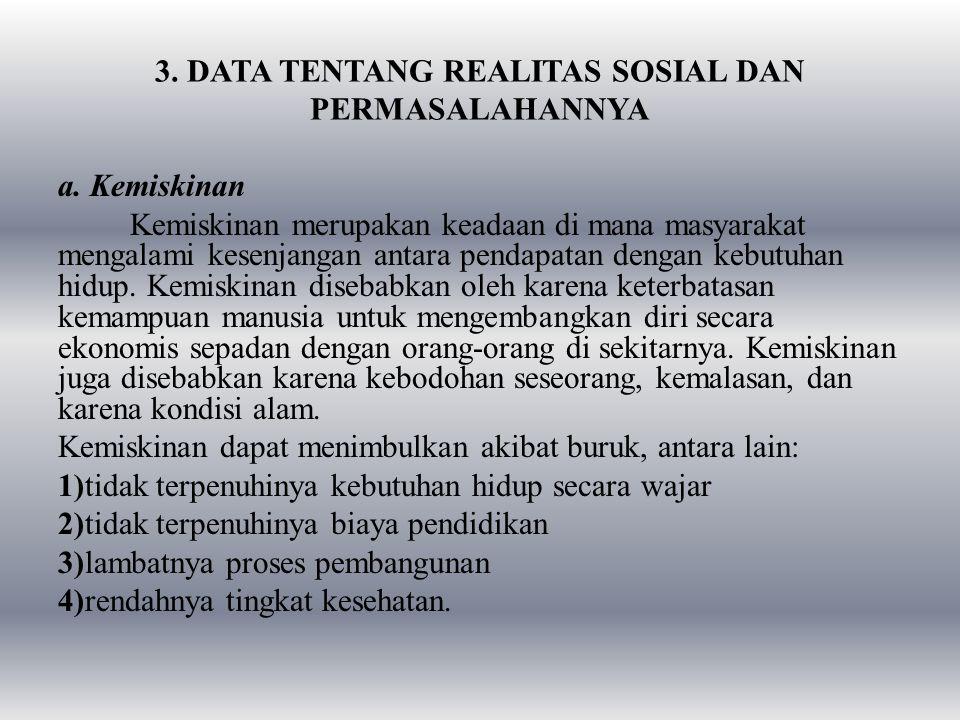 3. DATA TENTANG REALITAS SOSIAL DAN PERMASALAHANNYA