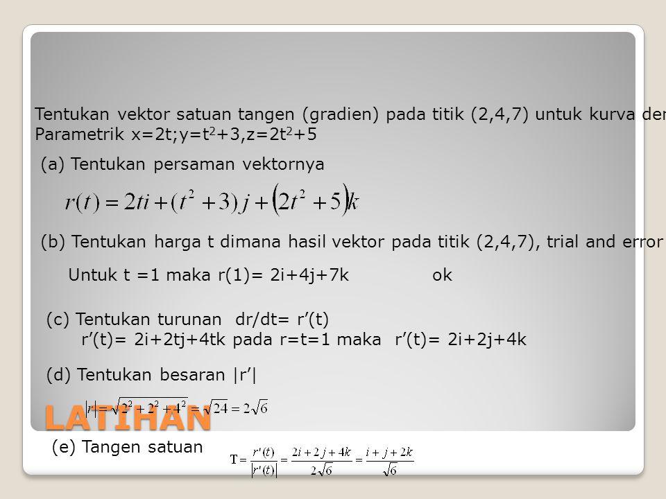 Tentukan vektor satuan tangen (gradien) pada titik (2,4,7) untuk kurva dengan persamaan