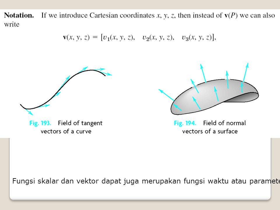 Fungsi skalar dan vektor dapat juga merupakan fungsi waktu atau parameter lain