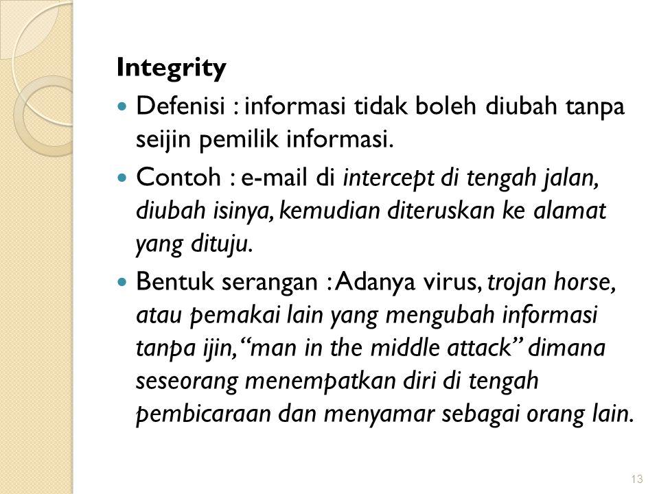 Integrity Defenisi : informasi tidak boleh diubah tanpa seijin pemilik informasi.