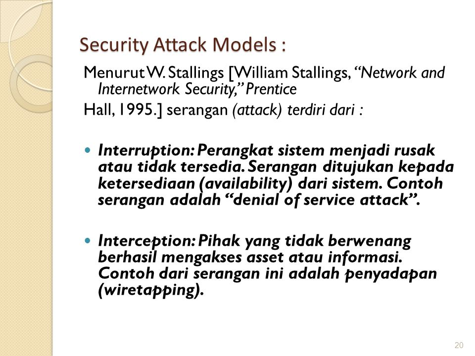 Security Attack Models :