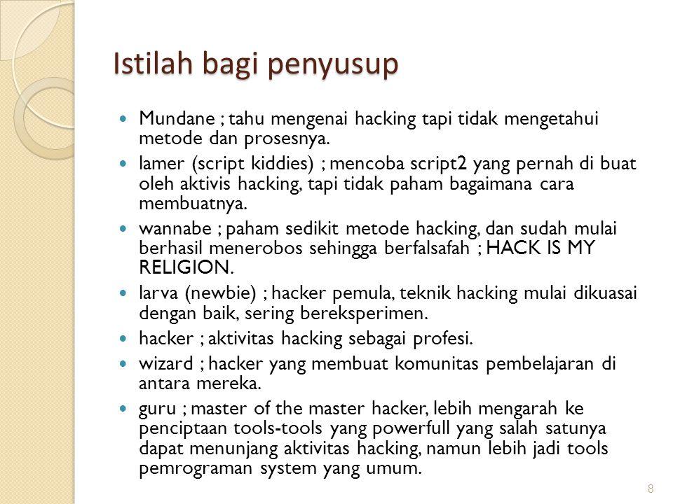 Istilah bagi penyusup Mundane ; tahu mengenai hacking tapi tidak mengetahui metode dan prosesnya.