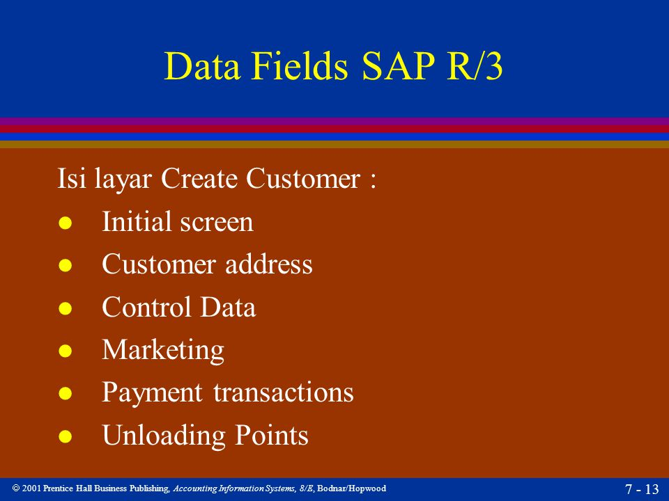 Data Fields SAP R/3 Isi layar Create Customer : Initial screen