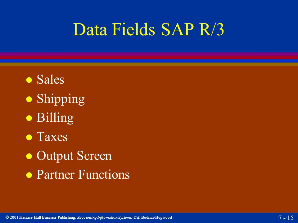 Data Fields SAP R/3 Sales Shipping Billing Taxes Output Screen