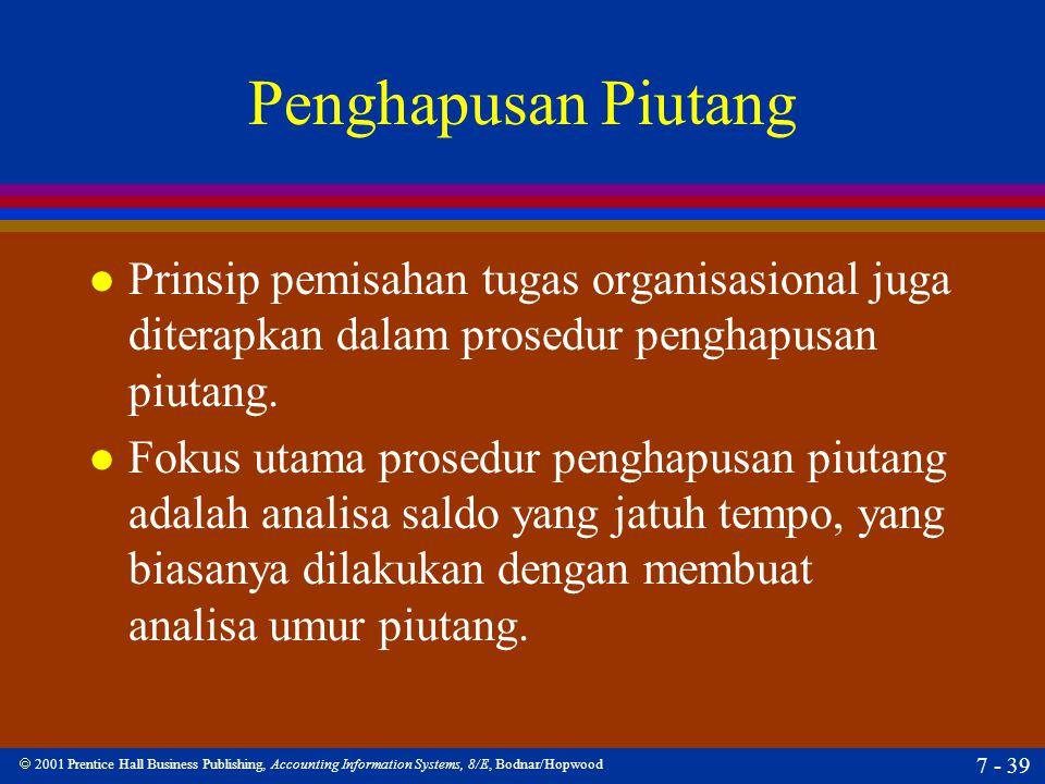 Penghapusan Piutang Prinsip pemisahan tugas organisasional juga diterapkan dalam prosedur penghapusan piutang.