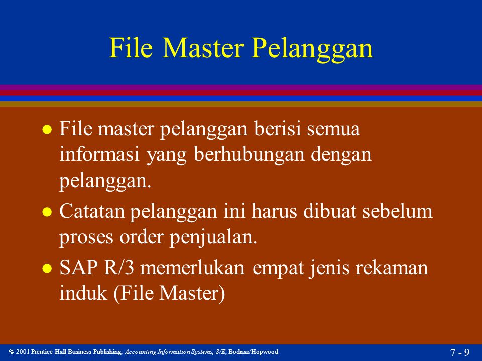 File Master Pelanggan File master pelanggan berisi semua informasi yang berhubungan dengan pelanggan.