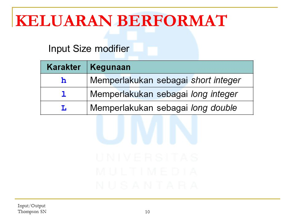 KELUARAN BERFORMAT Input Size modifier h