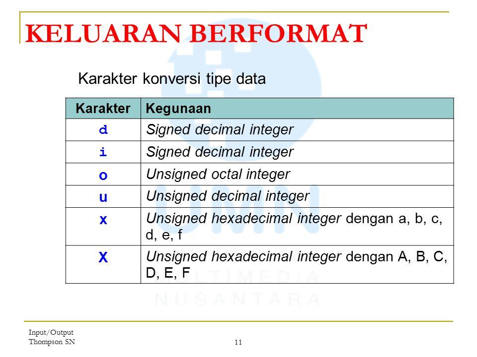 KELUARAN BERFORMAT Karakter konversi tipe data d