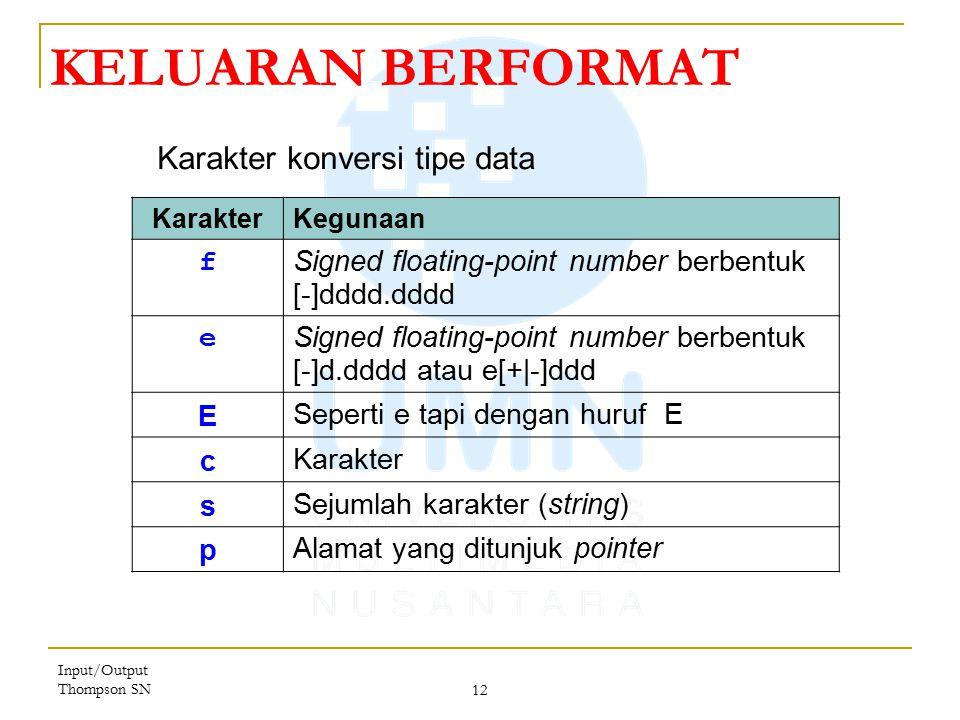 KELUARAN BERFORMAT Karakter konversi tipe data f