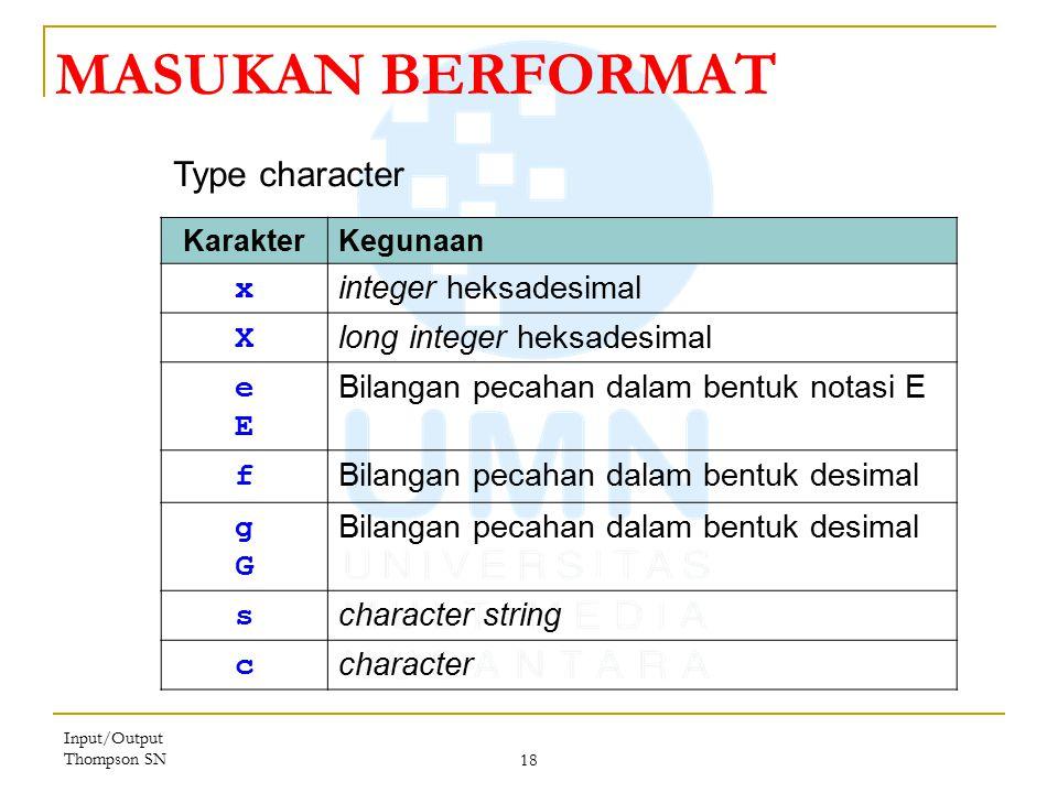 MASUKAN BERFORMAT Type character x integer heksadesimal X