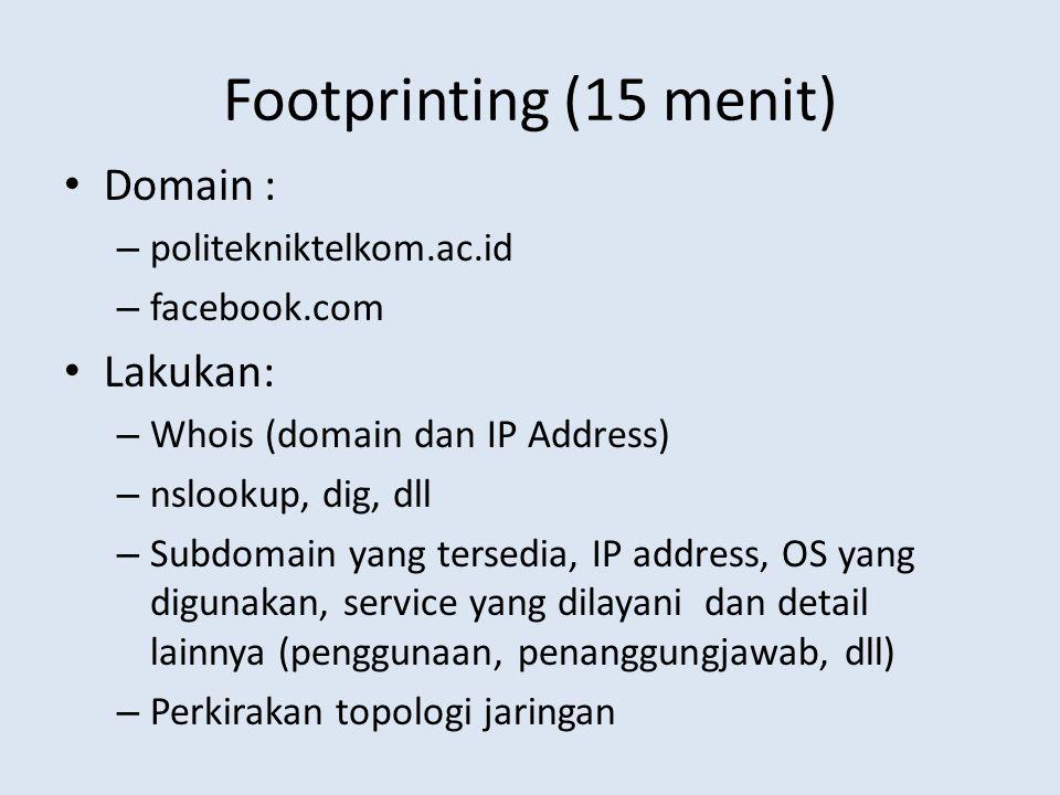 Footprinting (15 menit) Domain : Lakukan: politekniktelkom.ac.id