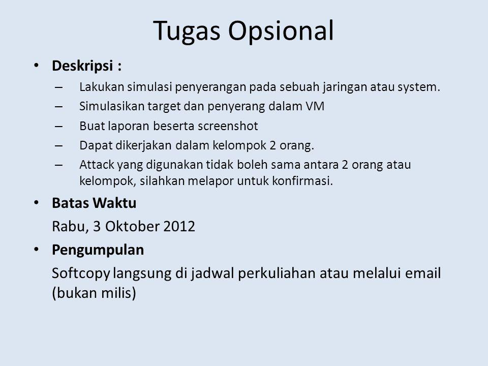 Tugas Opsional Deskripsi : Batas Waktu Rabu, 3 Oktober 2012