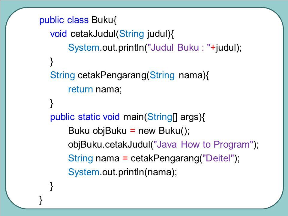 public class Buku{ void cetakJudul(String judul){ System.out.println( Judul Buku : +judul); } String cetakPengarang(String nama){