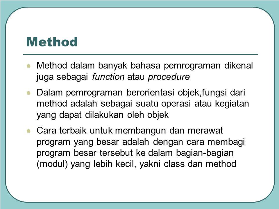 Method Method dalam banyak bahasa pemrograman dikenal juga sebagai function atau procedure.
