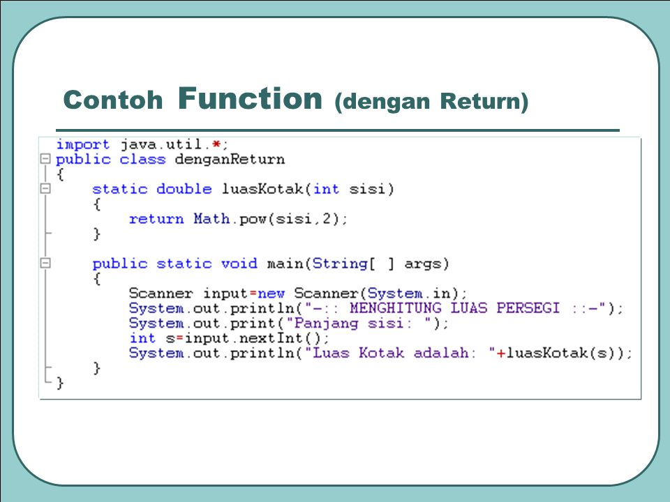 Contoh Function (dengan Return)