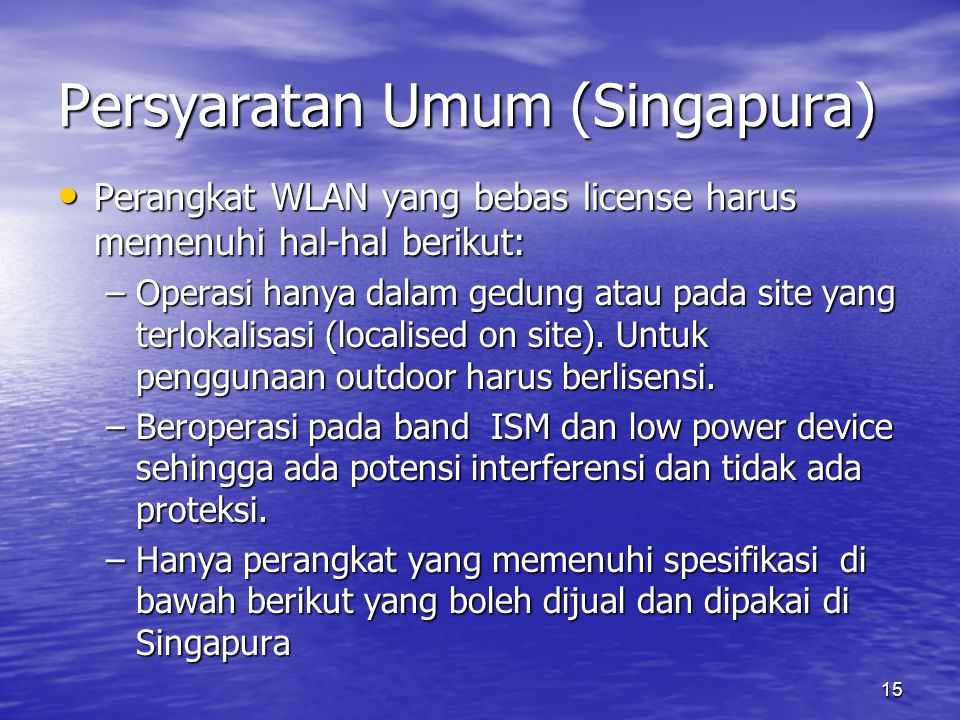 Persyaratan Umum (Singapura)
