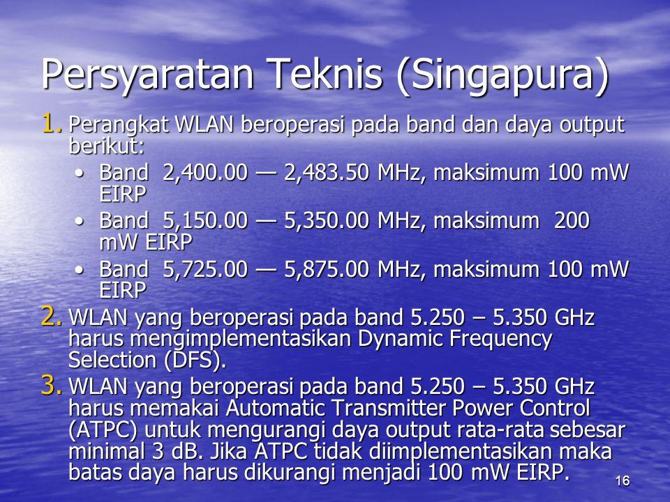 Persyaratan Teknis (Singapura)