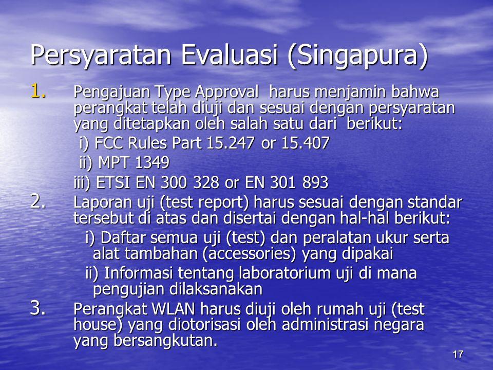 Persyaratan Evaluasi (Singapura)