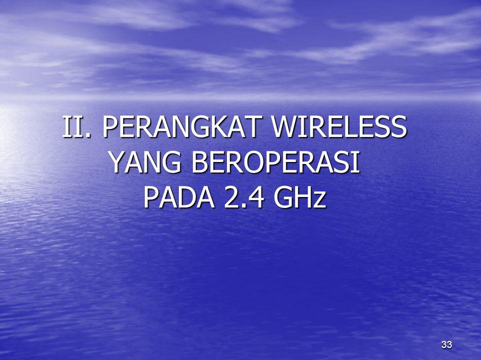 II. PERANGKAT WIRELESS YANG BEROPERASI PADA 2.4 GHz