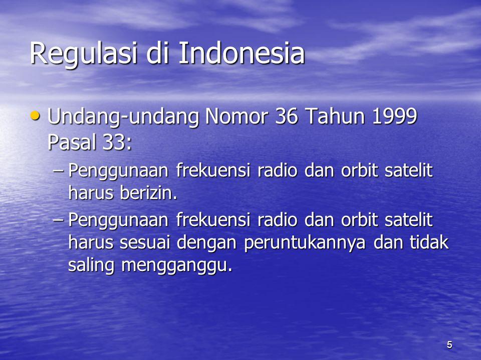 Regulasi di Indonesia Undang-undang Nomor 36 Tahun 1999 Pasal 33: