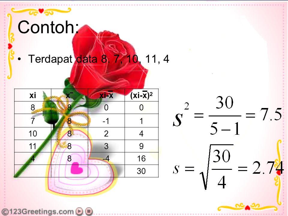 Contoh: Terdapat data 8. 7, 10, 11, 4 xi x‾ xi-x (xi-x)2 8 7 -1 1 10 2