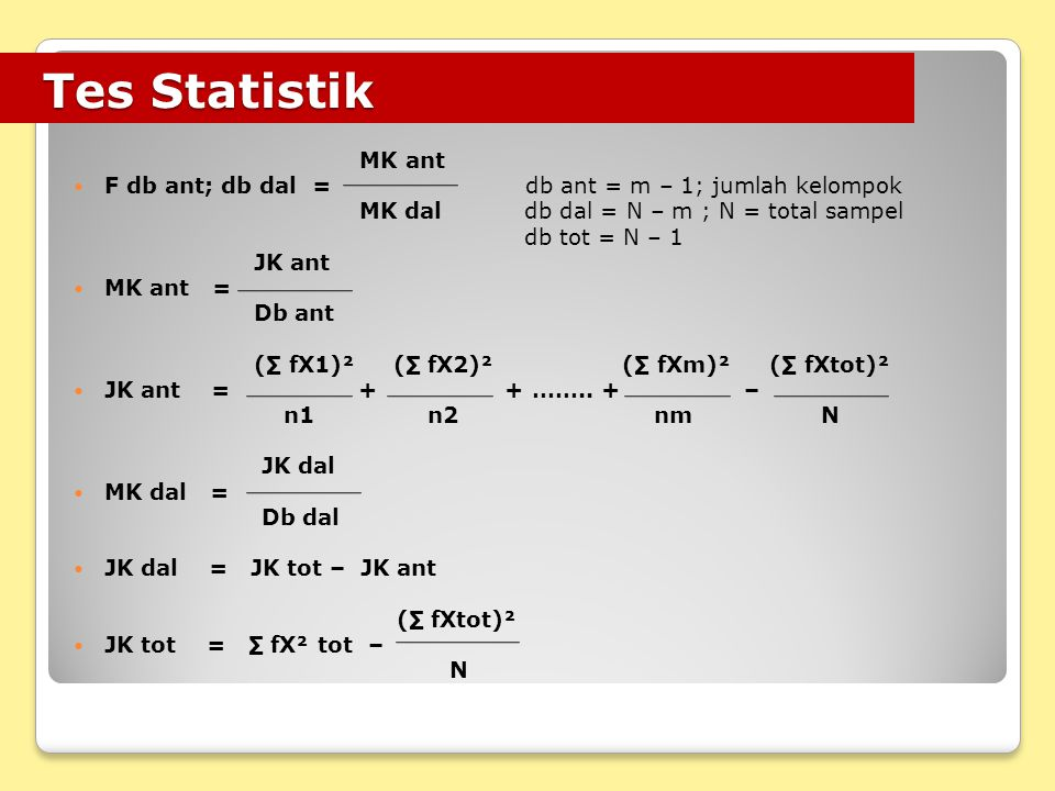 Tes Statistik MK ant. F db ant; db dal = db ant = m – 1; jumlah kelompok. MK dal db dal = N – m ; N = total sampel.