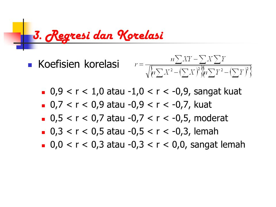 3. Regresi dan Korelasi Koefisien korelasi