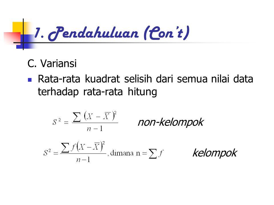 1. Pendahuluan (Con't) C. Variansi