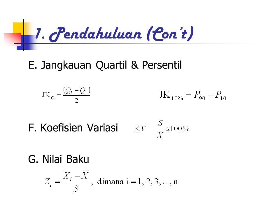 1. Pendahuluan (Con't) E. Jangkauan Quartil & Persentil