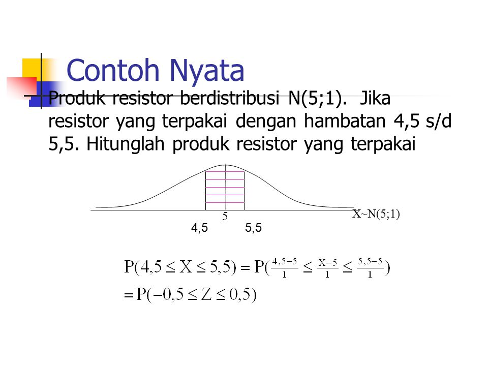 Contoh Nyata Produk resistor berdistribusi N(5;1). Jika resistor yang terpakai dengan hambatan 4,5 s/d 5,5. Hitunglah produk resistor yang terpakai.