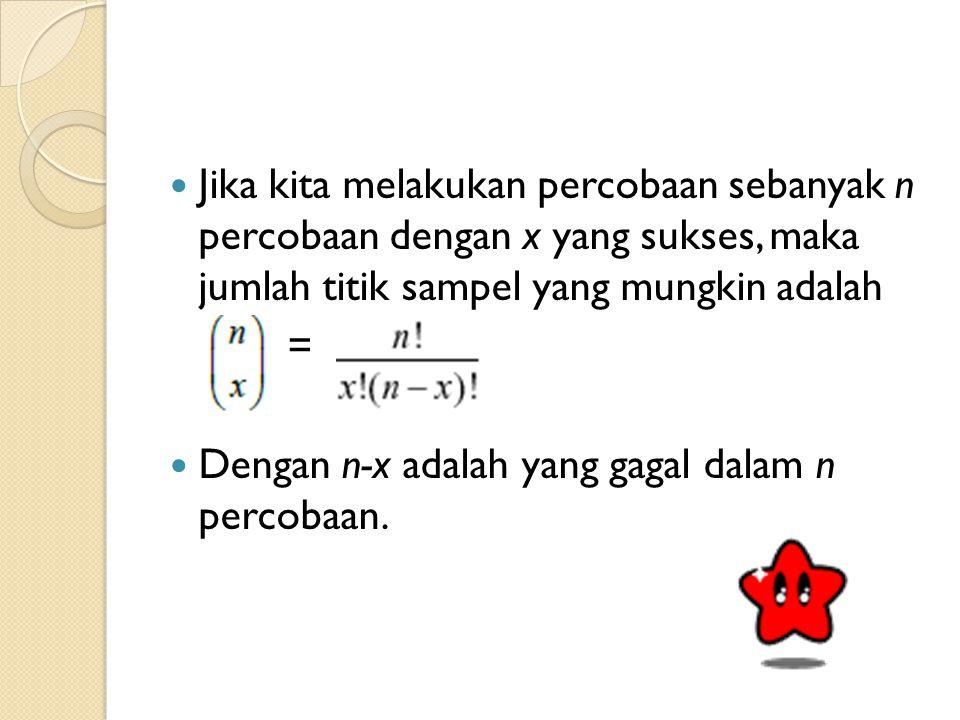Jika kita melakukan percobaan sebanyak n percobaan dengan x yang sukses, maka jumlah titik sampel yang mungkin adalah
