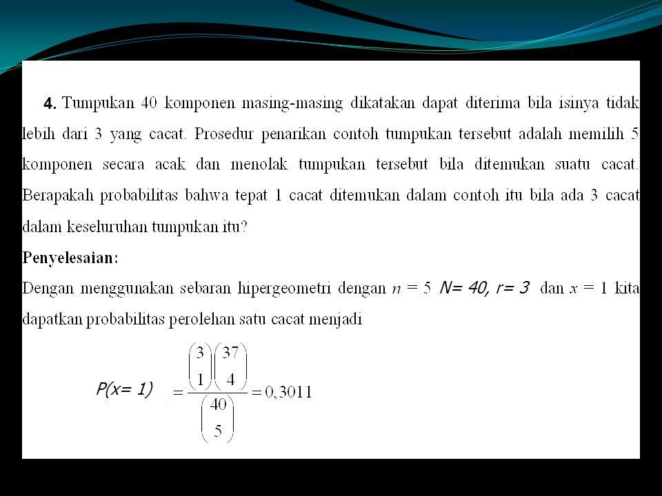 4. N= 40, r= 3 P(x= 1)