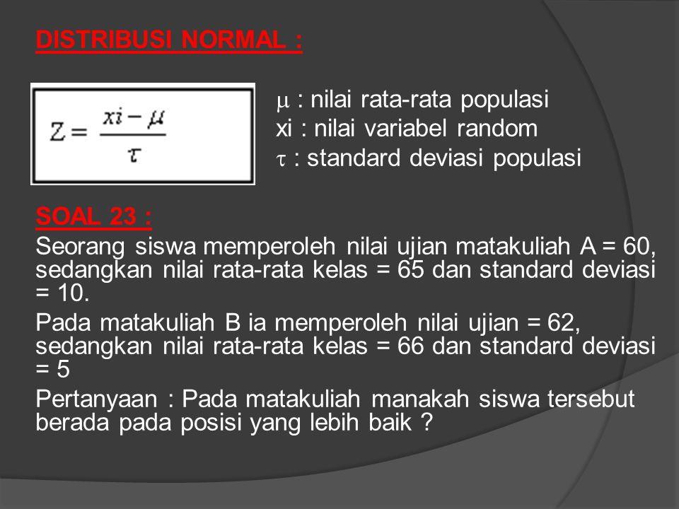DISTRIBUSI NORMAL :  : nilai rata-rata populasi xi : nilai variabel random  : standard deviasi populasi SOAL 23 : Seorang siswa memperoleh nilai ujian matakuliah A = 60, sedangkan nilai rata-rata kelas = 65 dan standard deviasi = 10.