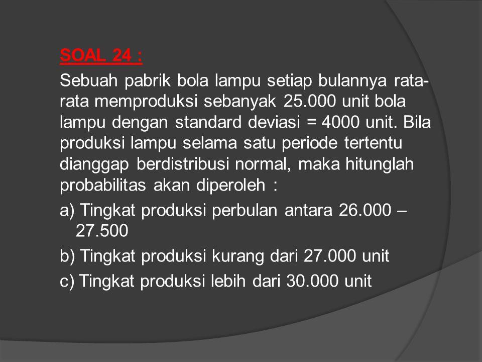 SOAL 24 : Sebuah pabrik bola lampu setiap bulannya rata-rata memproduksi sebanyak 25.000 unit bola lampu dengan standard deviasi = 4000 unit.