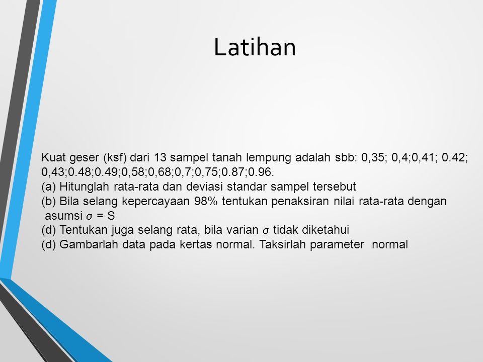 Latihan Kuat geser (ksf) dari 13 sampel tanah lempung adalah sbb: 0,35; 0,4;0,41; 0.42; 0,43;0.48;0.49;0,58;0,68;0,7;0,75;0.87;0.96.