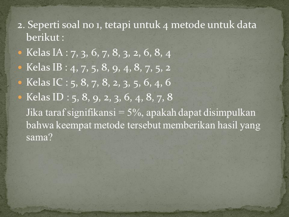 2. Seperti soal no 1, tetapi untuk 4 metode untuk data berikut :