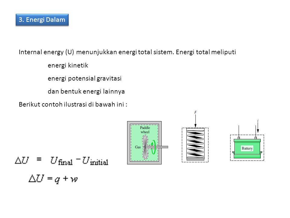 3. Energi Dalam Internal energy (U) menunjukkan energi total sistem. Energi total meliputi. energi kinetik.