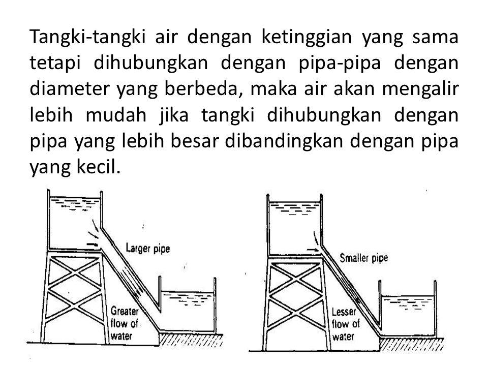 Tangki-tangki air dengan ketinggian yang sama tetapi dihubungkan dengan pipa-pipa dengan diameter yang berbeda, maka air akan mengalir lebih mudah jika tangki dihubungkan dengan pipa yang lebih besar dibandingkan dengan pipa yang kecil.