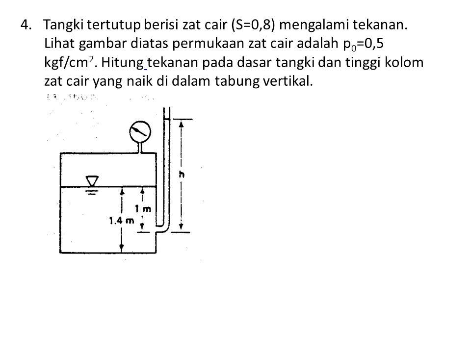 4. Tangki tertutup berisi zat cair (S=0,8) mengalami tekanan