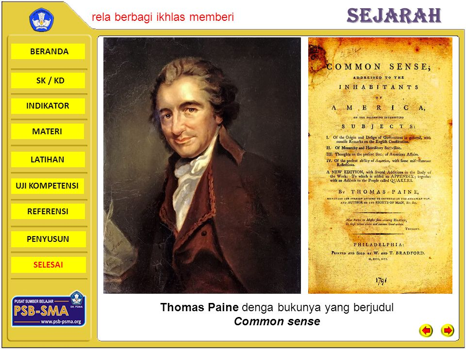 Thomas Paine denga bukunya yang berjudul Common sense