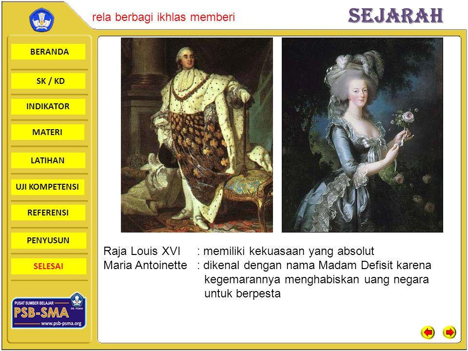 Raja Louis XVI : memiliki kekuasaan yang absolut
