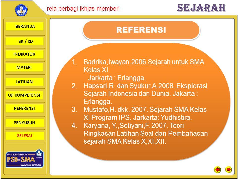 REFERENSI Badrika,Iwayan.2006.Sejarah untuk SMA Kelas XI.