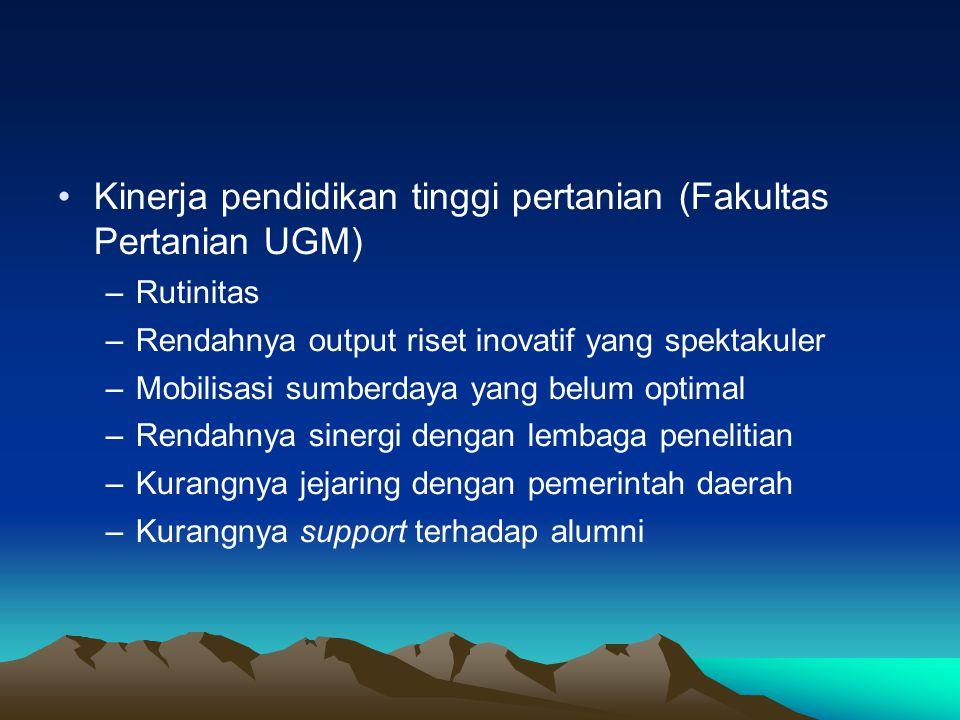 Kinerja pendidikan tinggi pertanian (Fakultas Pertanian UGM)