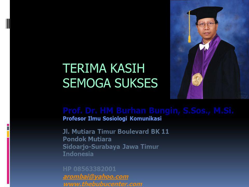 TERIMA KASIH SEMOGA SUKSES Prof. Dr. HM Burhan Bungin, S.Sos., M.Si.