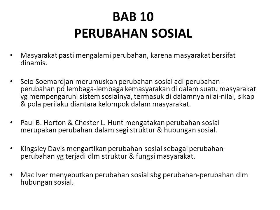 BAB 10 PERUBAHAN SOSIAL. Masyarakat pasti mengalami perubahan, karena masyarakat bersifat dinamis.