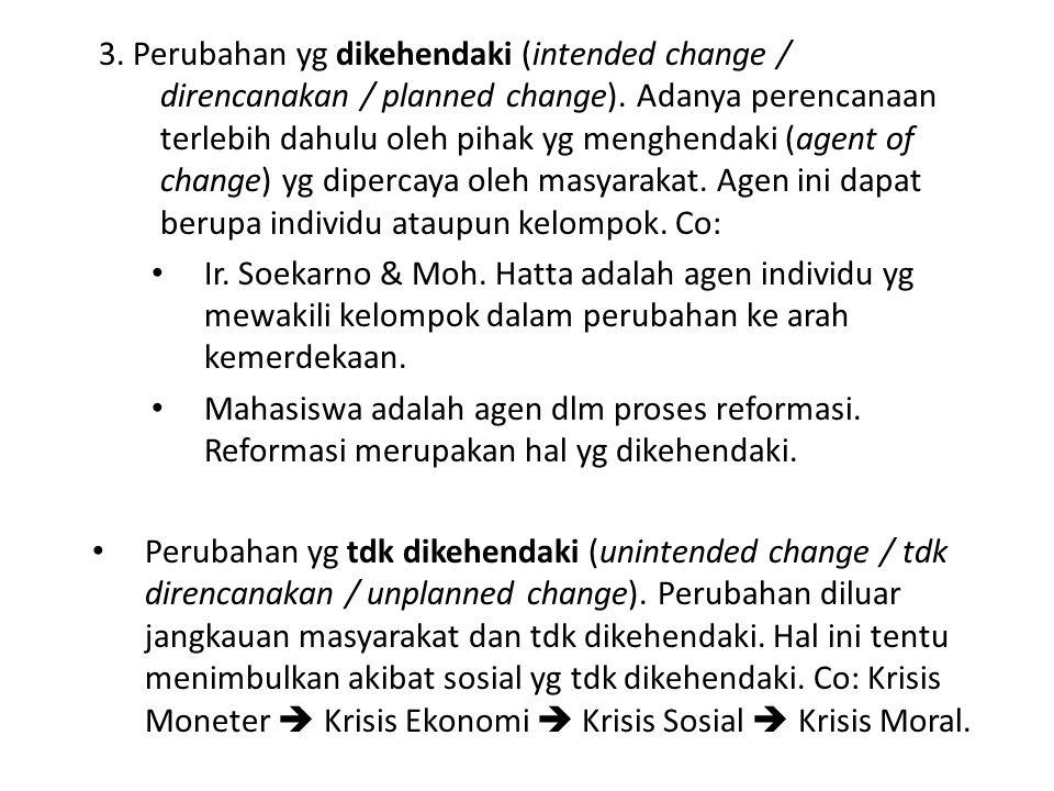 3. Perubahan yg dikehendaki (intended change / direncanakan / planned change). Adanya perencanaan terlebih dahulu oleh pihak yg menghendaki (agent of change) yg dipercaya oleh masyarakat. Agen ini dapat berupa individu ataupun kelompok. Co: